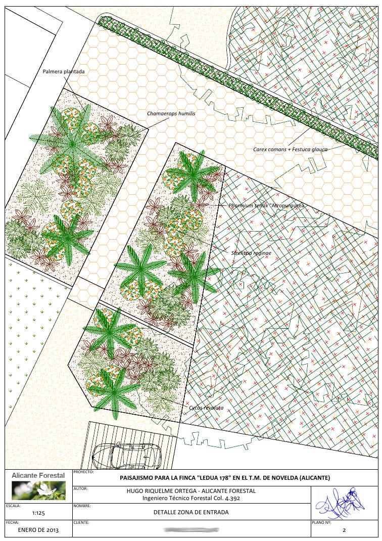 Dise o de jard n en novelda alicante forestal for Planos de jardines