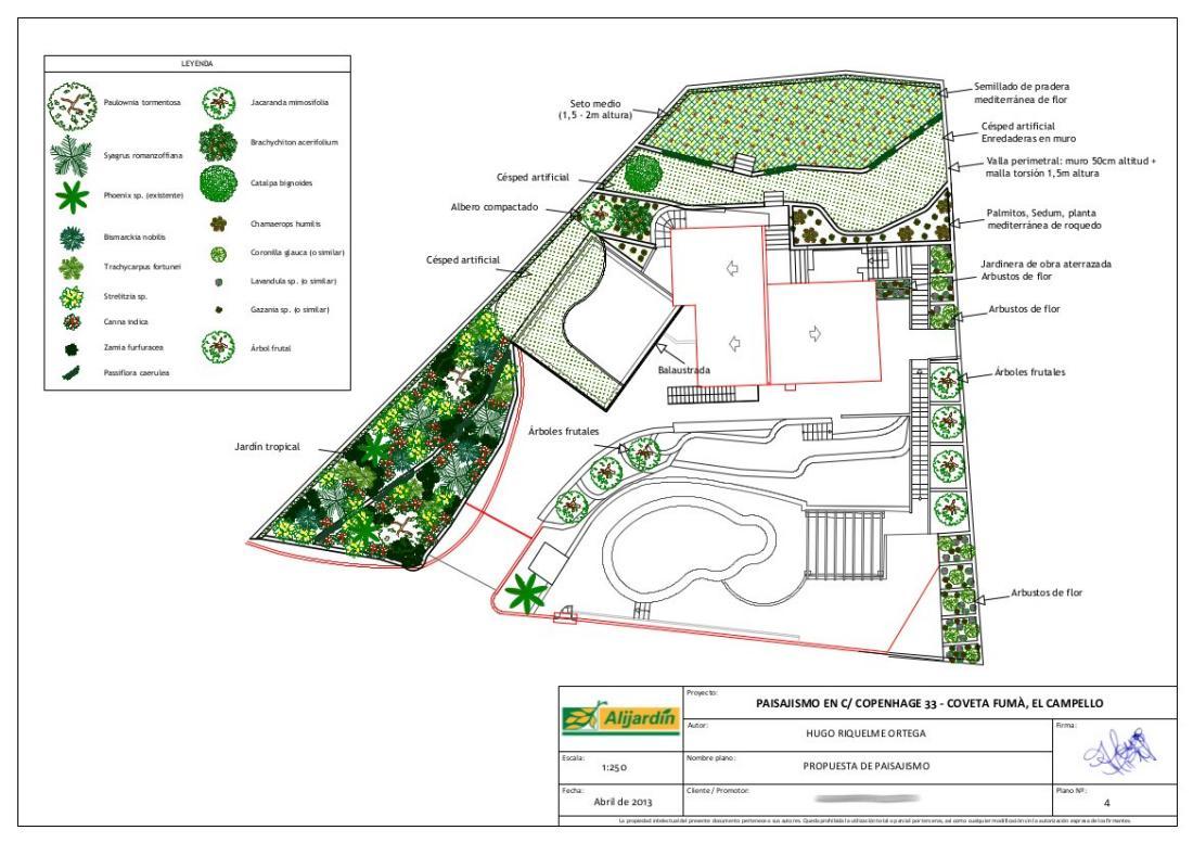 Proyecto de paisajismo en el campello alicante for Planos terrazas exteriores